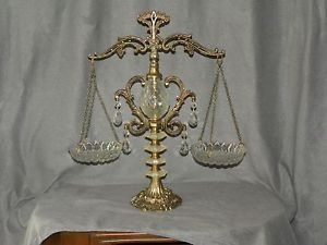 Scale of Justice Brass and Crystal Glass Wall Plate Hanger Table Home Decor