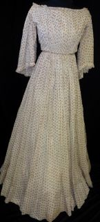 Orig Antique Victorian Pre Civil War 1850s Young Womans Calico Cotton 2pc Dress