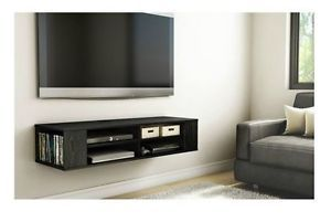 Wall Mounted Media Console Black TV Stand Entertainment Center Floating Cabinet