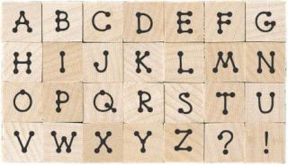 Hero Arts Wood Mounted Stamp Set 28 Pcs Tiny Dot Letters Alphabet