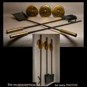 Mid Century Wall Mount Fireplace Andirons Tool Set