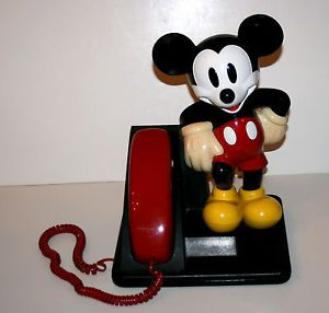 "Vintage Walt Disney Mickey Mouse 14"" Tall Plastic Telephone Cute"