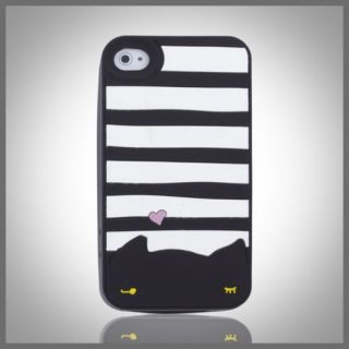 Cellxpressions™ Black Cat White Stripes Silicone Soft Case Cover iPhone 4 4G 4S