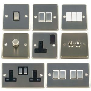 G H Brushed Steel Light Switches Plug Sockets Toggle Switches Dimmer Switch