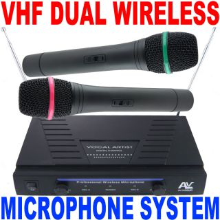 AV Pro Duo Dual VHF High Performance 2 Wireless Microphone System Free USA SHIP