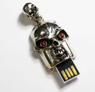 Skull Pendant Memory Flash USB Drive 1GB 2GB 4GB 8GB 16GB Metal Thumb Stick Pen