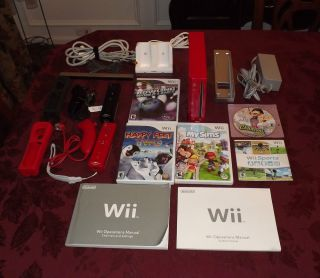 Nintendo Wii Red Console RVL 001 Video Game System w 5 Games Controllers More
