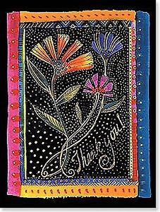 Laurel Burch Thank You Card Flowers Cards Gold Foil