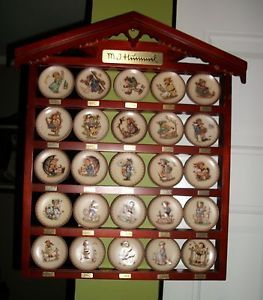 Complete Set of Hummel Miniature Plates with Wall Display