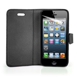 Black Fibre Wallet Leather Case Cover for Apple IPHONE5 iPhone 5 5g Screen Pro