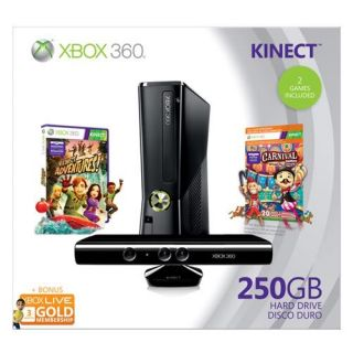 New Xbox 360 250GB Console Kinect Holiday Bundle Bonus Xbox Live Card 2 Games 885370335170