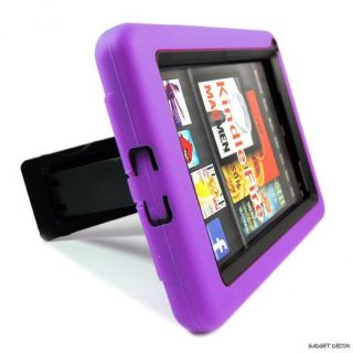 For  Kindle Fire Purple Hybrid Heavy Duty Kickstand Hard Soft Case Cover