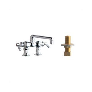 Chicago Faucets 772 Above Deck Mount Double Handle Widespread Bridge Faucet with Inlet Arms and 6 Swing Spout