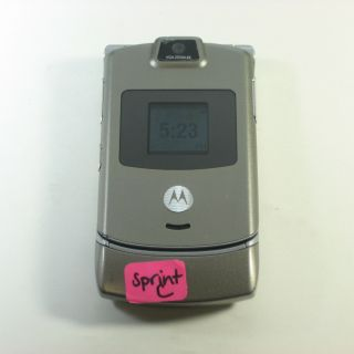 Motorola RAZR V3m Bluetooth Camera Flip CDMA Phone Sprint Platinum A Stock
