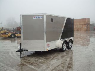 7930 New 2013 United 7x12' 2 Place Enclosed Motorcycle Trailer 7000 GVW Ramp Dr