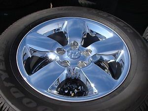 "4 2013 20"" Dodge RAM 1500 5 Spoke Chrome Factory Wheels Rims Goodyear Tires"