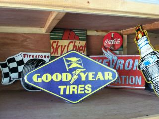 Goodyear Tires Embossed Metal Sign Man Cave Garage Shop