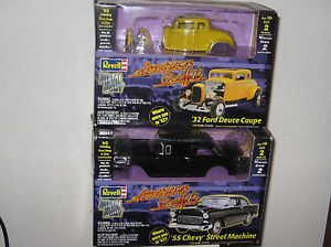 Two American Graffiti Hot Rods 1 25 Scale '55 Chevy '32 Ford Deuce Coupe