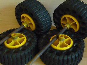 RARE 4 1965 Mighty Tonka Truck Tires Wheels Axils Excellent Condition Parts