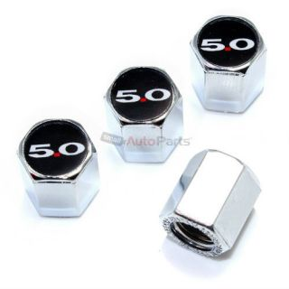 4 Ford 5 0 Logo Chrome ABS Tire Wheel Stem Air Valve Car Caps Covers