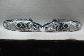 95 96 Mitsubishi Eclipse Chrome Clear Halo Projector Headlights Lamps Left Right
