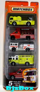 Matchbox 2010 Fire Truck 5 Pack Pumper Ladder Rescue