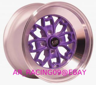15x8 4x100 0 Rota Aleica Purple Civic Fit Del Sol Integra Miata MR2 XB