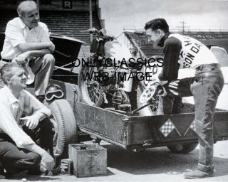 1950's Carroll Resweber Harley Davidson Motorcycle Racing Photo Cycle on Trailer