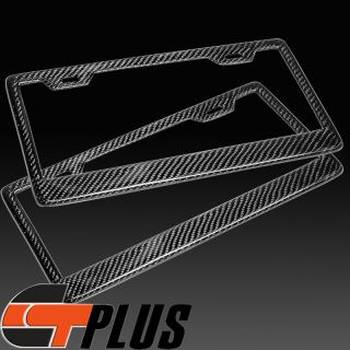 US Size Style Real Carbon Fiber License Plate Frame Holder Cover Set Front Rear