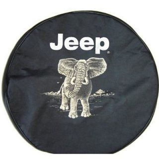 Sparecover® Brawny Series Jeep Logo 32 Elephant Onheavy Black Denim Tire Cover
