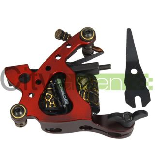 New Tattoo Machine Gun Shader Liner 10 Wrap Coils Alloy Red Free Spring