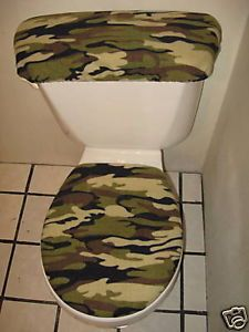 Army Green Camo Toilet Seat Cover Set