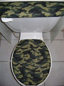 Green Camo Camouflage Military Army Fabric Toilet Seat Cover Set