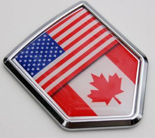 Canada USA Flag Car Chrome Canadian American Emblem 3D Decal Sticker