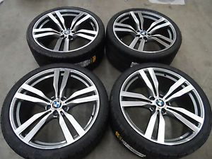 "22"" BMW 300 x5 x6 M Style Wheels Machnd Gunmetal Finish Pirelli Tires Rims E70"
