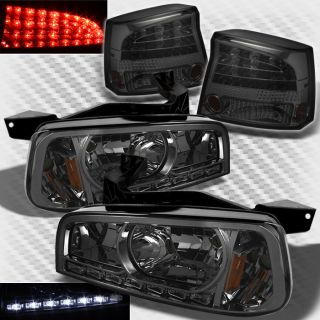 Smoked 06 08 Dodge Charger LED Headlights LED Smoke Tail Lights Lamp Set Pair