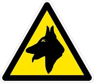 2X Yellow Static Cling Beware Warning Guard Dog Vinyl Stickers Decal Car Van Bus