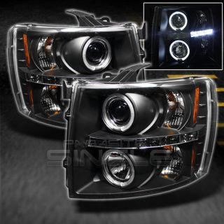07 13 Chevy Silverado Pickup Black Dual Halo Projector LED Headlights Lamps Pair