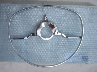 Original W113 280SL Mercedes Benz Steering Wheel Chrome Horn Ring New MIB