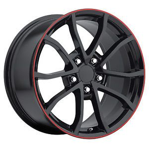 17x8 5 18x9 5 2012 Satin Black Red Lip Cup Rims C4 C5 Corvette Camaro Wheels