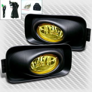 03 06 Acura TSX JDM Yellow Bumper Fog Lights Lamp Switch Bulb Wiring Harness Set