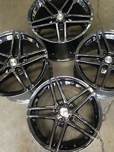 "18"" 19"" Stagger Black Chrome Fits C6 ZO6 Z06 Grand Sport Corvette Wheels Rims"