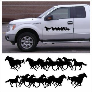 Decal Kit Running Horses for Farm Tack Box Stable Truck Horse Trailer in Black