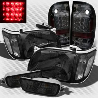Smoked 01 04 Toyota Tacoma Headlights LED Tail Lights Lamp Left Right Pair Set