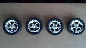 New Chrome Torque Thrust Wheels Tires Rims 1 24 1 25 Scale Model Car Kit