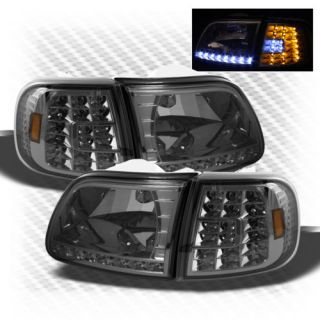 Smoked 97 02 Expedition 97 03 Ford F150 LED Headlights LED Corner Head Lights