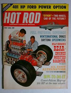 Hot Rod Magazine Vintage 1961 May Holly Hendrick Chevy Ford Mopar GM Racing