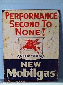 Vintage Mobilgas Mobil Gas Station Pump Car Garage Mechanic Shop Tin Metal Sign