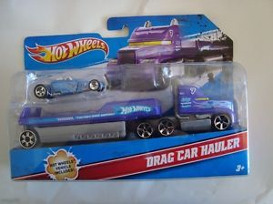 New Hot Wheels Drag Car Hauler Transporter w Vehicle Included