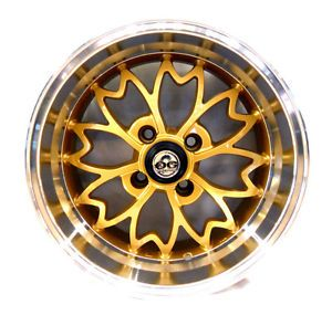 OG Axis Sakura Wheel Rim Gold 15x8 4x100 25 Low Offset 4pcs